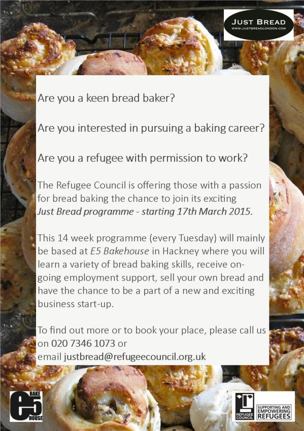 Just Bread Training Flyer March 2015