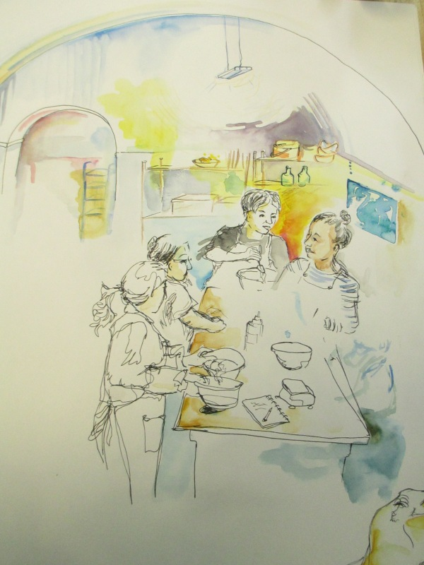 An illustration depicting Just Bread women busy at work in the e5 arch
