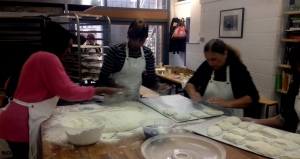 Dividing the dough into rolls